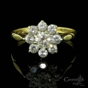 Amazing 9ct Gold And Cubic Zirconia Flower Cluster Ring
