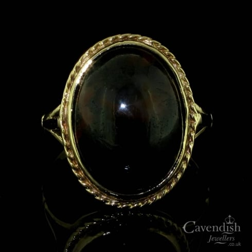 Amazing 9ct Gold And Oval Agate Ring