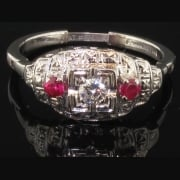 Amazing Art Deco 14ct White Gold Ruby & Diamond Hinged Ring