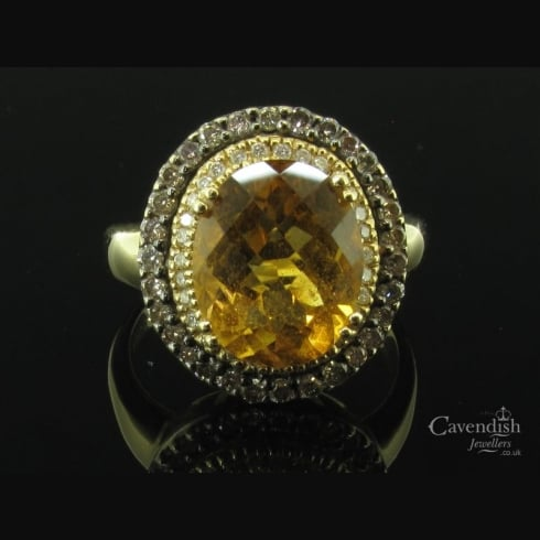 Amazing Citrine & Diamond Cluster Ring