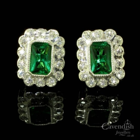 Amazing Silver, Synthetic Emerald & Cubic Zirconia Earrings