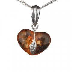 Amber Heart Drop Pendant Necklace