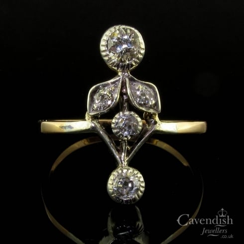 Angelic Gold And Silver Set, Old Cut Diamond Art Nouveau Ring