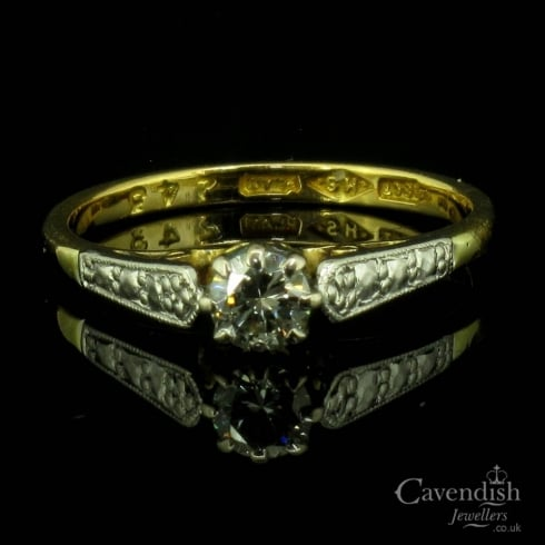 Antique 18ct Gold Diamond Solitaire Ring