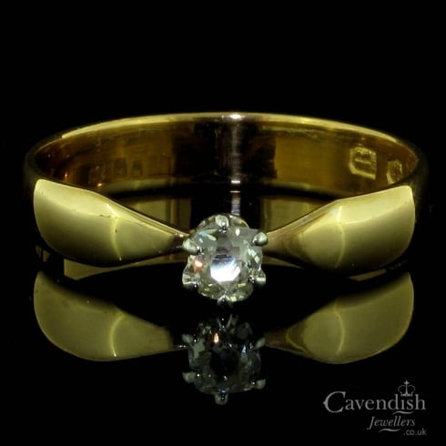 Antique 22ct Gold And Old Cut Diamond Solitaire Ring