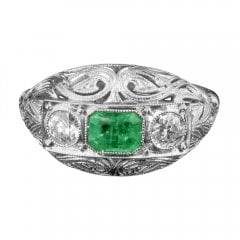 Antique Antique White Gold Filigree Emerald and Diamond Ring