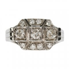 Antique Art Deco 18ct White Gold Diamond Trilogy Cluster Ring