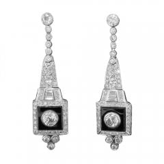 Antique Art Deco Onyx And Diamond Drop Earrings