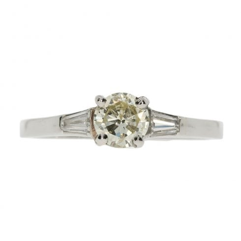 Antique Art Deco Platinum and Diamond Solitaire Ring