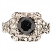 Antique Art Deco Platinum Black Diamond Solitaire Ring