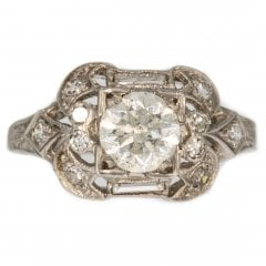 Antique Art Deco Platinum Diamond Cluster Ring