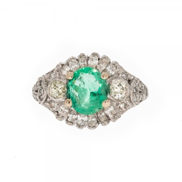 Antique Art Deco Platinum Emerald & Diamond Ring - Rings ...  Antique Art Dec...