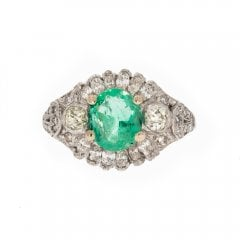 Antique Art Deco Platinum Emerald & Diamond Ring