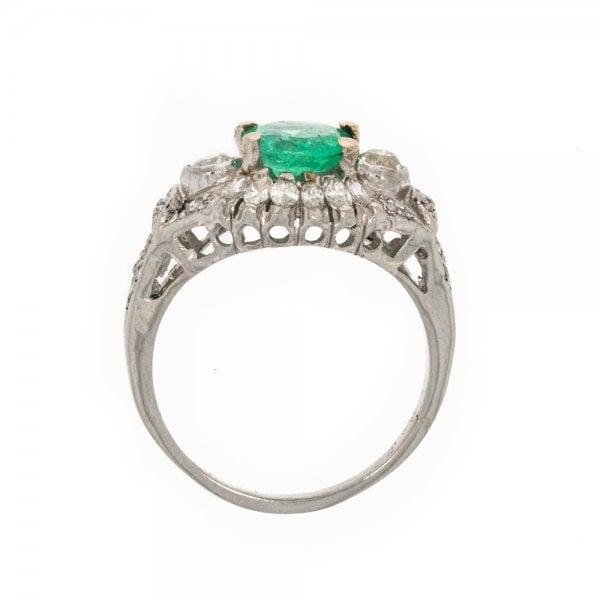 Antique Art Deco Platinum Emerald & Diamond Ring - from ...  Antique Art Dec...