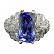 Antique Art Deco Platinum Tanzanite And Diamond Cluster Ring
