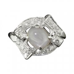 Antique Art Deco Star Sapphire and Diamond Cluster Ring
