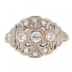 Antique Art Deco White Gold And Diamond Cluster Ring