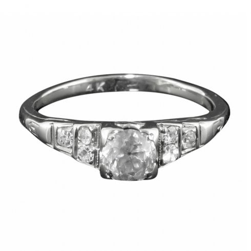 Antique Art Deco White Gold And Old Cut Diamond Solitaire Ring