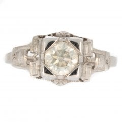 Antique Art Deco White Gold Diamond Solitaire Ring