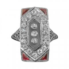Antique Art Deco White Gold Ruby Diamond and Agate Tablet Ring