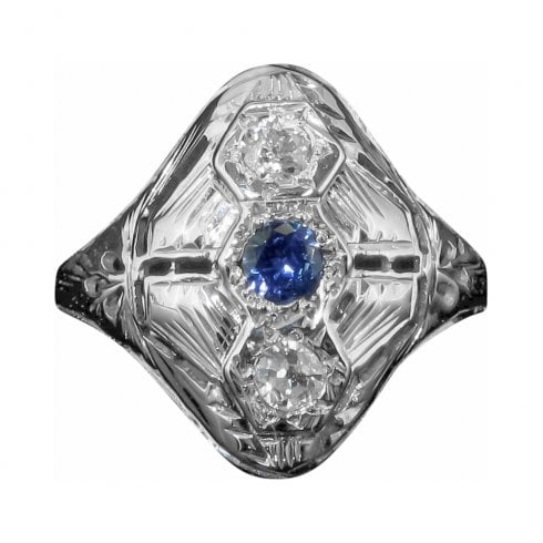 Antique Art Deco White Gold Sapphire and Diamond Tablet Ring
