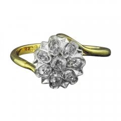 Antique Edwardian 18ct Gold and Old Cut Diamond Cluster Ring