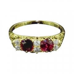 Antique Edwardian 18ct Gold Ruby and Diamond Ring