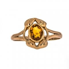 Antique Edwardian 9ct Gold Citrine Ring