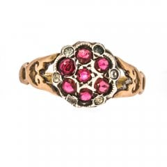 Antique Edwardian 9ct Gold Garnet And Paste Ring