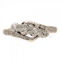 Antique Edwardian Gold And Platinum Diamond 4 Stone Twist Ring