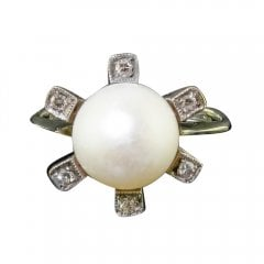 Antique Edwardian Gold Cultured Pearl and Diamond Dress Ring