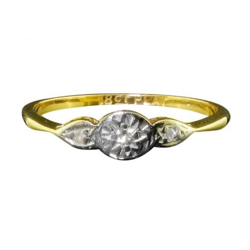 Antique Edwardian Gold Platinum And Diamond Trilogy Ring