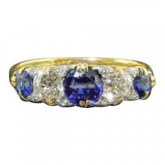 Antique Edwardian Gold Sapphire and Diamond Five Stone Ring