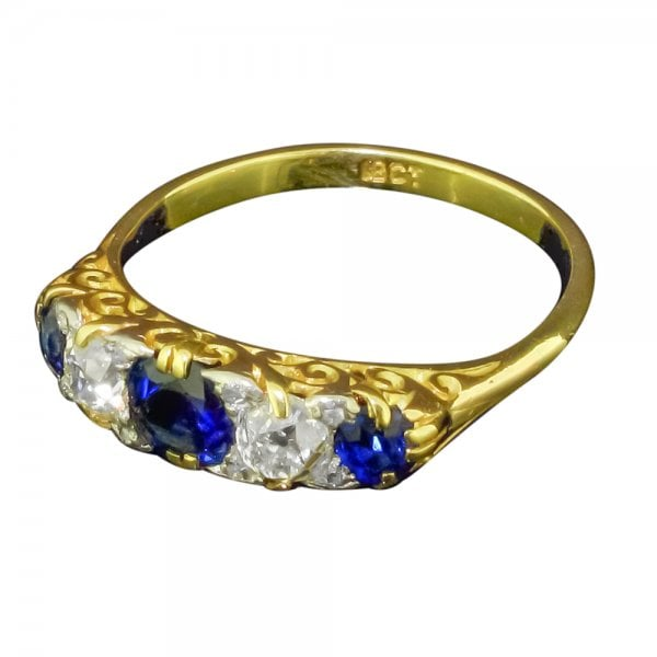 0f3a0e3c79df7 Antique Edwardian Gold Sapphire and Diamond Five Stone Ring