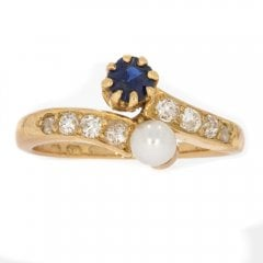 Antique Edwardian Gold, Sapphire, Pearl And Old Cut Diamond Ring