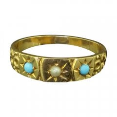 Antique Edwardian Gold Turquoise and Seed Pearl Childs Ring