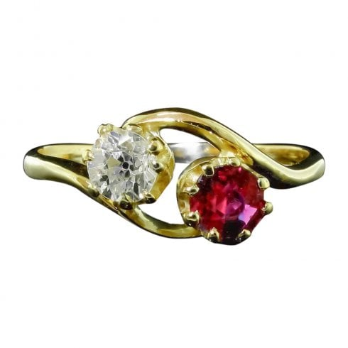 Antique Edwardian Ruby And Old Cut Diamond 2 Stone Twist Ring