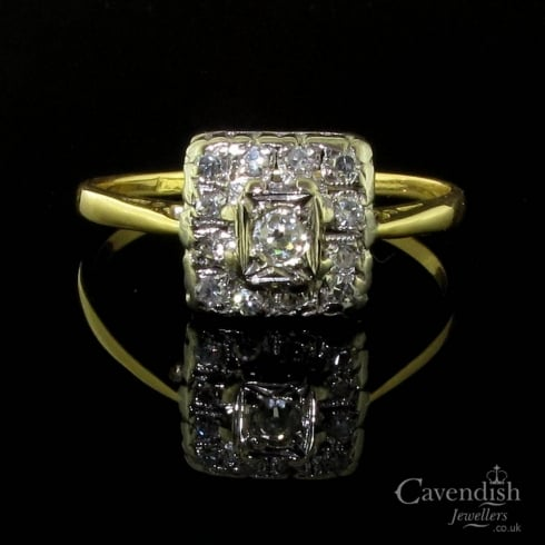 Antique Gold Diamond Cluster Ring