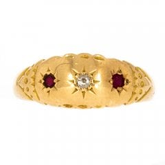Antique Gold Diamond & Ruby Three Stone Ring