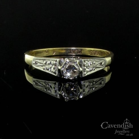 Antique Gold & Platinum Diamond Solitaire Ring
