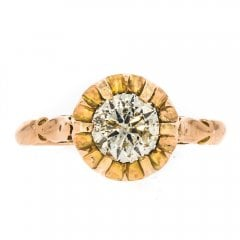 Antique Rose Gold Diamond Solitaire Ring