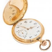 Antique Swiss Gold Cased Full Hunter Pocket Watch