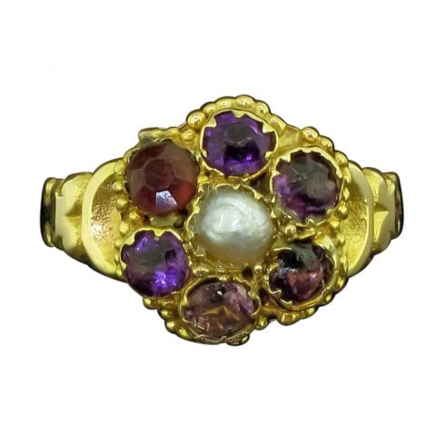 Antique Victorian 12ct Gold Amethyst and Pearl Cluster Ring