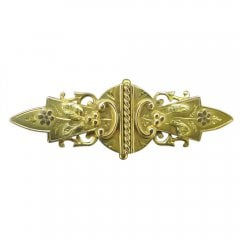 Antique Victorian 9ct Gold Engraved Brooch Circa 1900