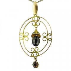 Antique Victorian Gold Amethyst and Seed Pearl Pendant