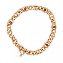 Antique Victorian Gold Ruby And Diamond Set Curb Link Bracelet
