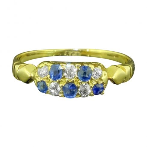 Antique Victorian Gold Sapphire And Diamond Ring