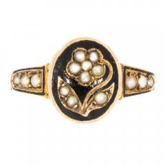 Antique Victorian Gold Seed Pearl Morning Ring