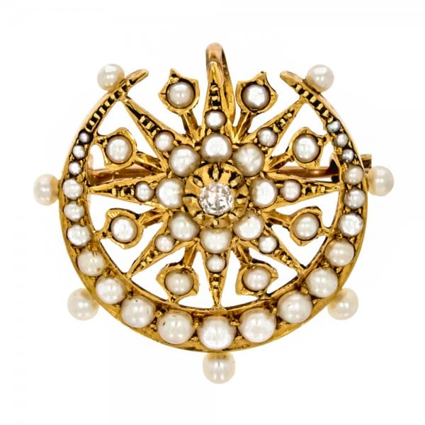 9c1400a49 Antique Victorian Gold Star Crescent Diamond Seed Pearl Brooch ...