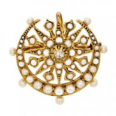 Antique Victorian Gold Star Crescent Diamond Seed Pearl Brooch